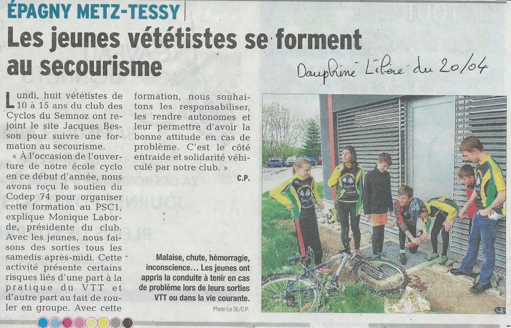 """Une session PSC1 pour le jeunes Vététistes du club """"Les cyclos du Semnoz"""""""